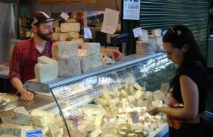 Shawna picking cheese at the Borough Market