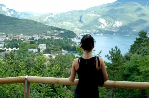 Shawna looking down on Rive di Garda in Italy. Views like this don't come for free!