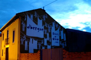 Leaving our very cool albergue in Villares de Orbigo in the early morning hours.