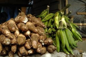 Choosing plantains at the market