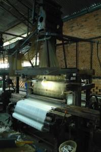 A silk loom weaving material