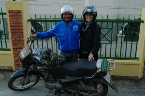 Shawna's big strong driver...the biggest man we've seen in Vietnam so far!