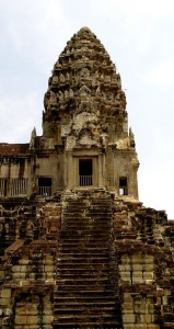 Steep stairs into the temple