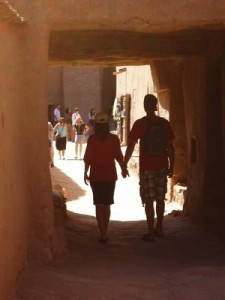 Walking through the dusty archways in Morocco