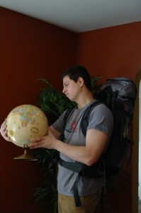 Skott testing out his bag and trying to figure out how we could visit every country in the world in one year.