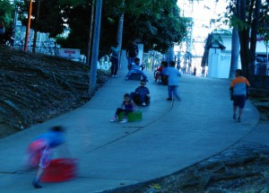 We felt like this was Colombian's version of tobogganing...using plastic crates for a ride down the hill.