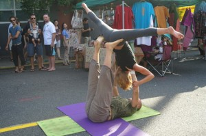 Shawna and I limbering up at the Belmont Street Fair